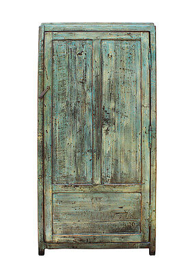 Chinese Distressed Blue Green Tall Iron Lock Armoire Wardrobe Cabinet cs2312