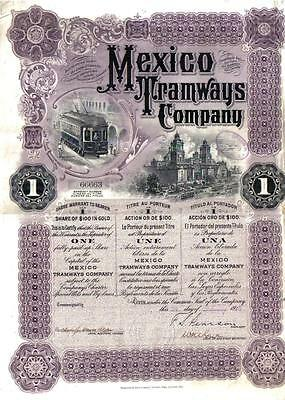 Mexico 1910 Bond Mexico Tramways Company $100 UNCANCELLED TOP DECO coupons
