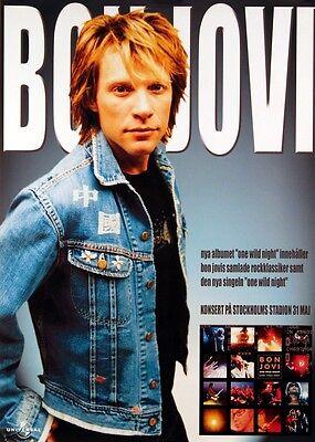BON JOVI 2001 SWEDISH PROMO & CONCERT POSTER ORIGINAL