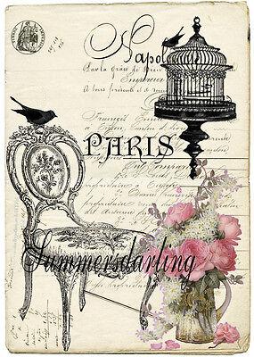 PARIS*FRENCH*CHAIR*BIRDCAGE*COLLAGE*GORGEOUS*QUILT ART FABRIC BLOCK*1=5X7 SALE