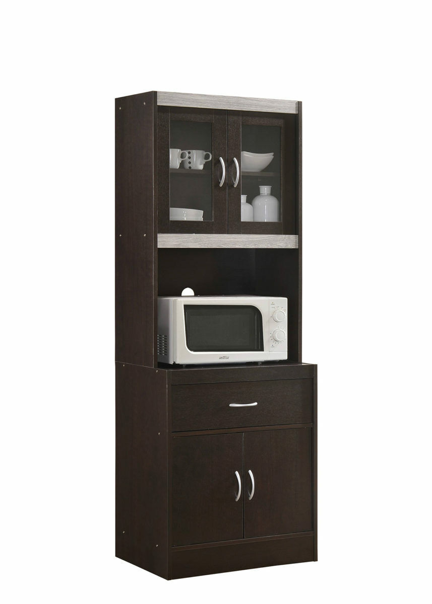 4-Door Kitchen Microwave Cabinet Tall Pantry Cupboard ...