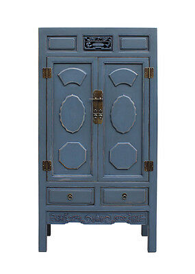 Chinese Distressed Gray Blue Lacquer Tall Armoire Storage Cabinet cs2238