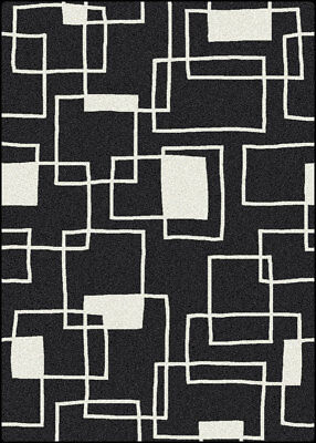 "4x6 Milliken Offbeat Black Modern Geometric Boxes Area Rug - Approx 3'10""x5'4"""