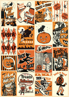 Cavallini & Co. Halloween Trick Or Treat Decorative Paper Sheet / Poster / Wrap](Trick Or Treat Halloween Posters)
