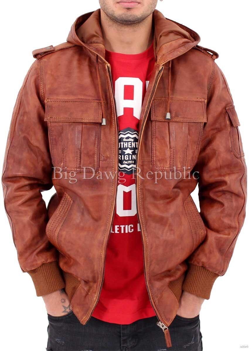 Aviatrix Mens Nevada Timber 661 Vintage Leather Hooded Bomber Jacket  Baseball фото 8314cd21142