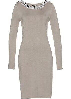 Strickkleid Kleid Damenkleid Stiefelkleid Strick elegant Perlen Strass 36 38