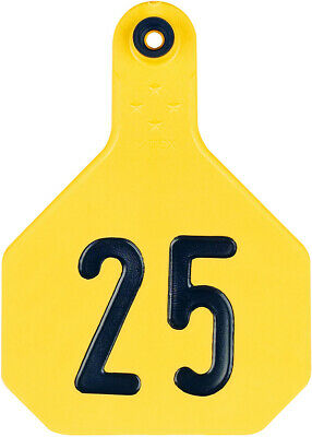 Ytex 4 Star Large Cattle Id Ear Tags Yellow Numbered 1-25