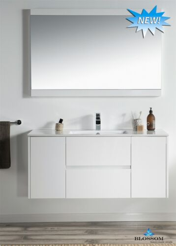 """Blossom Valencia 48"""" Wall-mounted Single Modern Vanity In Glossy White"""