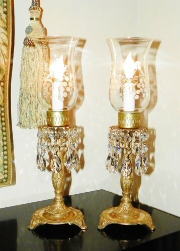 "Pr Vtg ""Insolence & Crystal"" Mantle/Foyer Hurricane Lamps w/Etched Shades~Spain!"