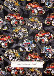 Fabric traditions monster truck rally trucks tire track for Monster truck fabric