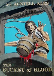 Pub Sign -BUCKET OF BLOOD St Austel Brewery Hayle Cornwall Print / Poster