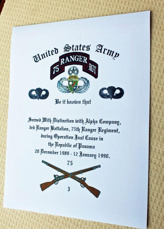 C21 75th Ranger Award Operation Just Cause A CO 3rd BATT