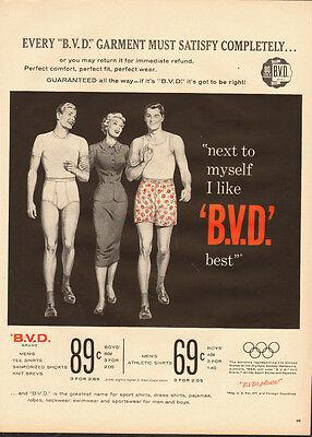 1950's Vintage ad for B.V.D. Men's Tee Shirts, Knit Brevs`50's Fashion (012114)