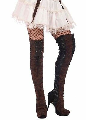Brown Steampunk Buckled Thigh High Boot Tops Spats Steam Punk Boots - Fast - Thigh High Boot Kostüm