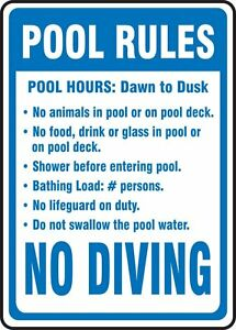 Swimming Pool Signs Ebay