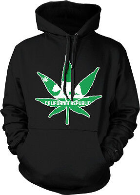 California Republic Pot Leaf Outline Weed 420 Ganja Hoodie Pullover (Weed Leaf Outline)