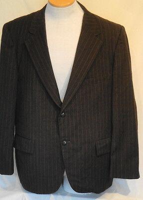 Vintage Brown Pin Stripe Wool Jacket Wide Collar Sports Coat C44