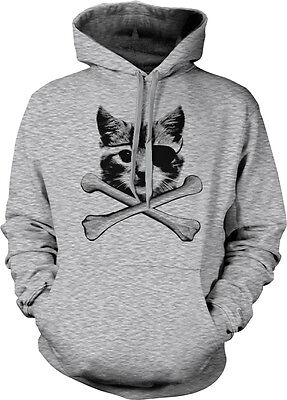 Kitten Pirate Cat With Eye Patch Crossbones Kitty Furball Meme Hoodie Pullover