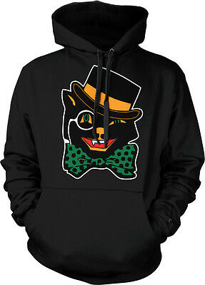 Halloween Black Cat Top Hat Bow Tie Cute Scary Omen Jinx Feline Hoodie - Scary Halloween Black Cat