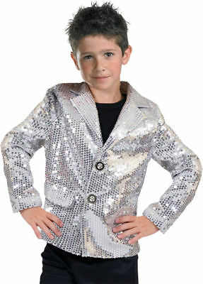 Morris Costumes Boys Disco 1970s Dance Theme Party Jacket Silver 4-6. - Boys Disco Costumes