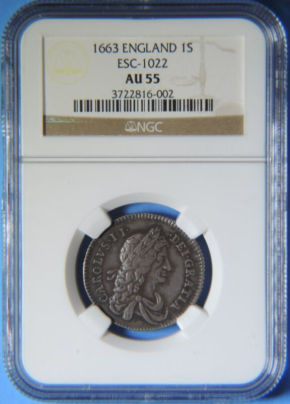 1663 Great Britain England Old Silver 1S Shilling Coin Charles II  NGC AU 55