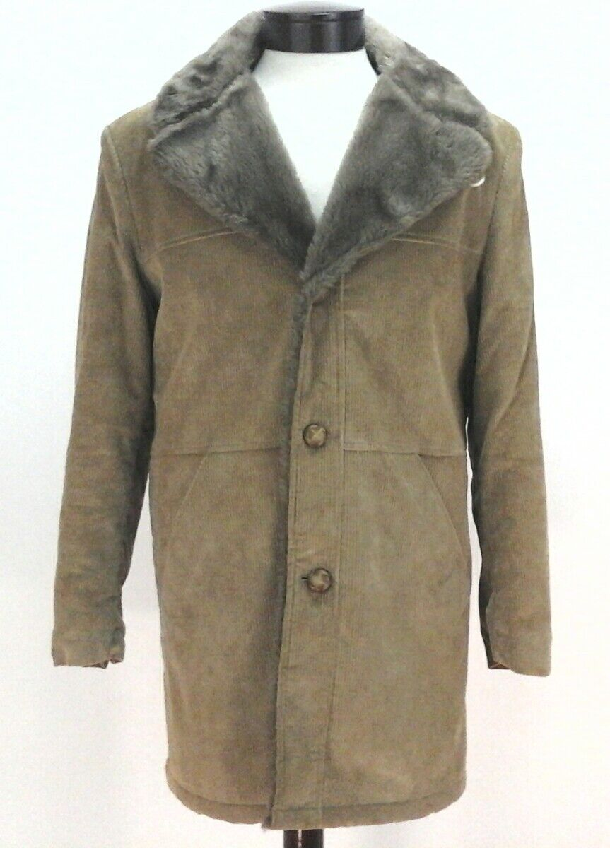 Sears Mens Vtg Outwear Winter Tan Corduroy Jacket Coat Faux Fur