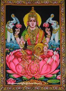 Goddess Tapestry Indian Wall Hanging Laxmi Lakshmi Poster Size Hindu God Decor