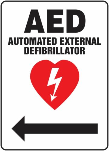 Accuform Signs MFSD538VP Plastic Safety Direction Sign~ AED with arrow