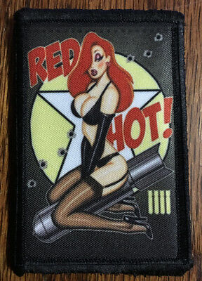 Red Hot Bomber Pin up Girl Nose Art Morale Patch Tactical Military Army - Army Girls