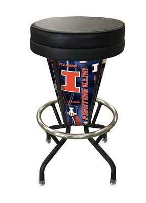 NCAA - Lighted Illinois Swivel Bar Stool College Team Logo Illinois Fighting Illini Swivel