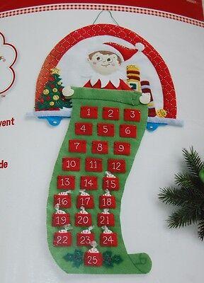 Elf on the Shelf Felt Applique Advent Calendar Kit 18x24 Christmas 2014 New