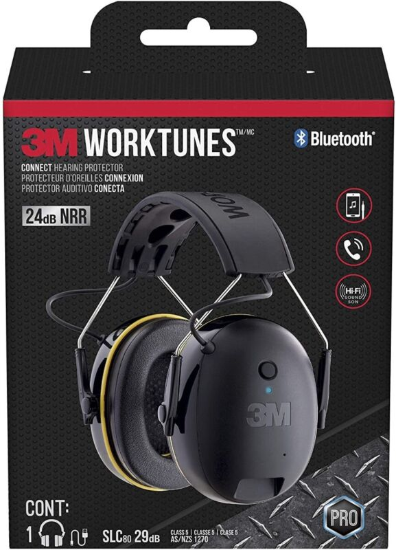 3M WorkTunes Connect Hearing Protector with Bluetooth Technology, 24 dB NRR, ...