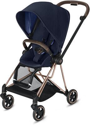 Cybex Mios Lightweight Compact Single Baby Stroller Rose Gold Frame Indigo Blue