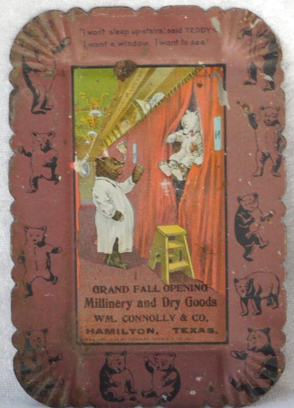 ATQ 1900s HAMILTON TEXAS TEDDY G. ROOSEVELT BEAR TIN LITHO ADVERTISING TIP TRAY
