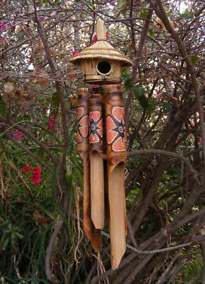 Bamboo Tiki Hut (Tiki Hut Tropical Bamboo Wind Chime Bird House  w/ Burned Flower Design 24