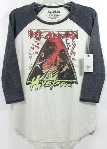 Lucky Brand Def Leppard Hysteria 3/4 Sleeve Womens T-Shirt Tee Band Concert