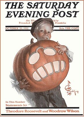 HALLOWEEN MAGAZINE COVER SATURDAY EVENING POST LEYENDECKER VINTAGE REPRODUCTION! - Saturday Halloween