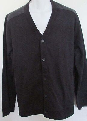 NWT Perry Ellis Black Button Front Sweater Cardigan Jumper Cotton Blend Size XL