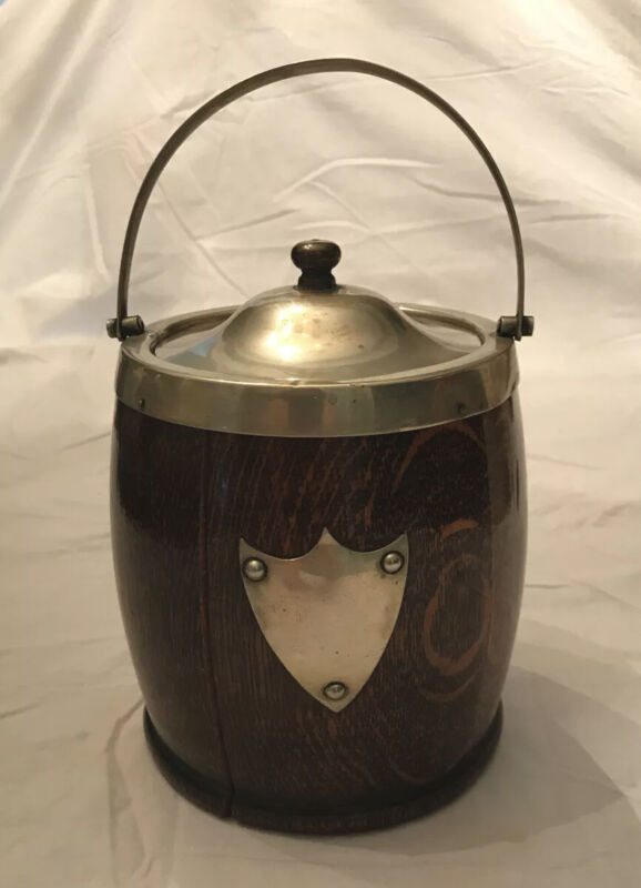 Antique English Silver Crested Oak Biscuit Box/ice Bucket Porcelain Lined
