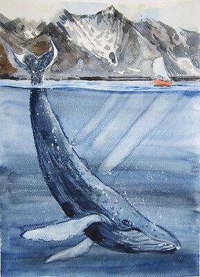 """Original Aquarell """"Wal"""" 40x30 cm, Papier, Aquarell"""