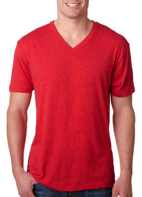 Next Level Men's Soft Tri Blend V Neck Rib Knit Collar T-Shirt, 3-Pack. 6040