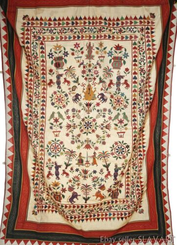 VINTAGE Hand-Embroidered tapestry from India wall hanging folk art tribal Ganesh