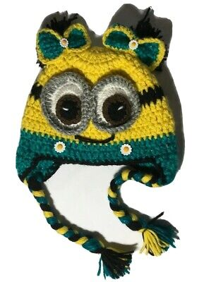 Minion Hats For Adults ( Hand Crafted  Knitted  Young Adult size knitted Hat 'Girl')