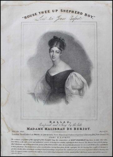 Maria MALIBRAN (Opera): Original 1830 Lithograph Portrait