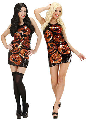 LADIES SEXY SHORT SEQUIN PUMPKIN COSTUME FANCY DRESS HALLOWEEN PARTY OUTFIT - Halloween Costume Sequin Shorts