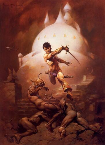 "Authentic Frank Frazetta Print  ""SWORD OF MARS""  13 x 19  #85"