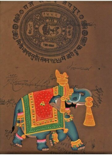 Indian mughal miniature painting Royal elephant Artwork artwork