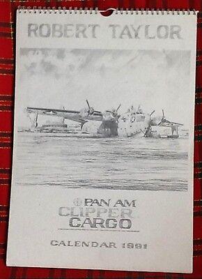 ROBERT TAYLOR - PENCIL DRAWING PRINTS - PAN AM 1991 CLIPPER CARGO LARGE CALENDAR
