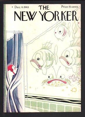 New Yorker Magazine Cover Only December 4 1943 Art Aquarium Fish Shower