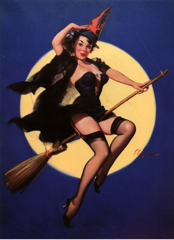 "HALLOWEEN WITCH ON BROOM PINUP ELVGREN 1958 VINTAGE REPRODUCTION POSTER 11""X15"""
